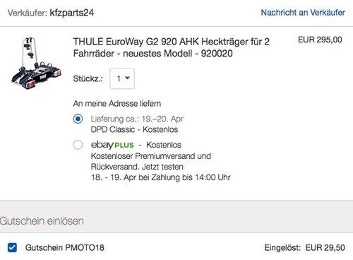 THULE EuroWay G2 920 AHK Heckträger für 2 Fahrräder - neuestes Modell - 920020 - jetzt 10% billiger