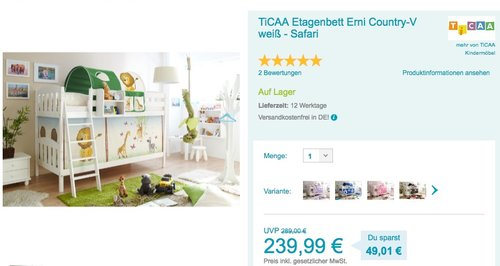 "TICAA Etagenbett ""Erni"" Country-V - jetzt 14% billiger"