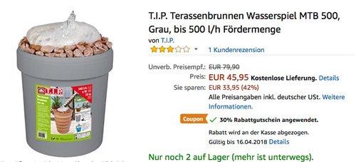 T.I.P. Terassenbrunnen Wasserspiel MTB 500 - jetzt 36% billiger