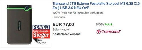 Transcend 2TB Externe Festplatte StoreJet M3 - jetzt 10% billiger