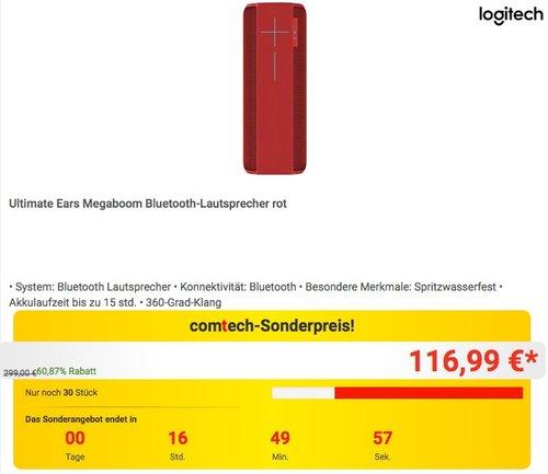 Ultimate Ears Megaboom Bluetooth-Lautsprecher rot - jetzt 10% billiger