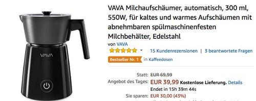 VAVA Milchaufschäumer, automatisch, 300 ml, 550W - jetzt 24% billiger
