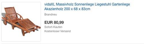 vidaXL Massivholz Sonnenliege - jetzt 9% billiger