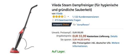 Vileda Steam Dampfreiniger (für hygienische und gründliche Sauberkeit) - jetzt 20% billiger