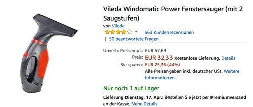 Vileda Windomatic Power Fenstersauger - jetzt 20% billiger
