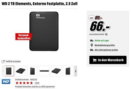 WD 2 TB Elements, Externe Festplatte, 2.5 Zoll - jetzt 12% billiger