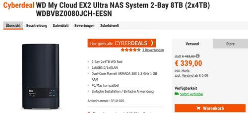 WD My Cloud EX2 Ultra NAS System 2-Bay 8TB (2x4TB) WDBVBZ0080JCH-EESN - jetzt 12% billiger