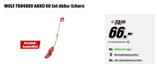 WOLF 7084889 AKKU 60 Set Akku-Schere - jetzt 6% billiger