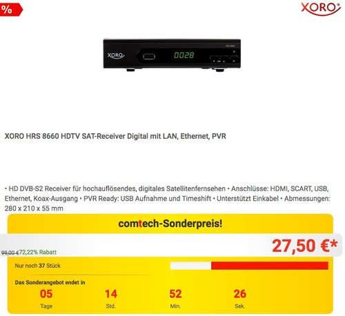XORO HRS 8660 HDTV SAT-Receiver Digital - jetzt 24% billiger