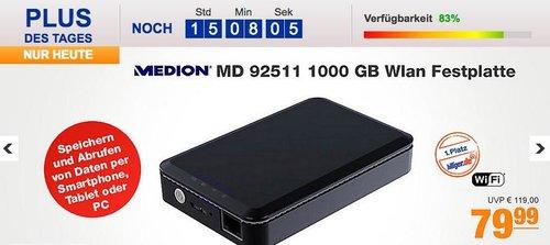 1000 GB WLAN Festplatte MEDION® LIFE® S88411 (MD 92511) - jetzt 33% billiger