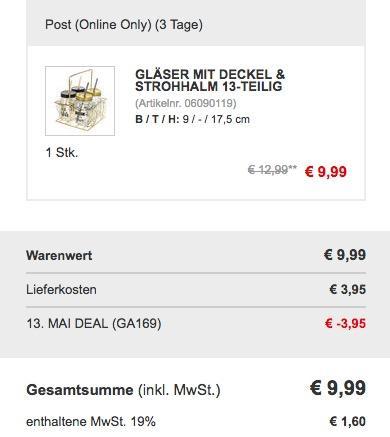 13 teilige Trinkgläserset mit Deckel & Strohhalm - jetzt 28% billiger