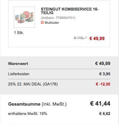 16 teiliges Kombiservice aus Steingut trendiges Pastell - jetzt 22% billiger