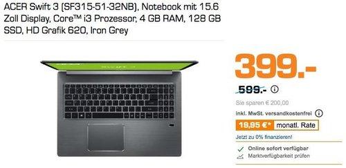 ACER Swift 3 Notebook mit 15.6 Zoll Display, Core™ i3 Prozessor, 4 GB RAM, 128 GB SSD, HD Grafik 620, Iron Grey - jetzt 25% billiger