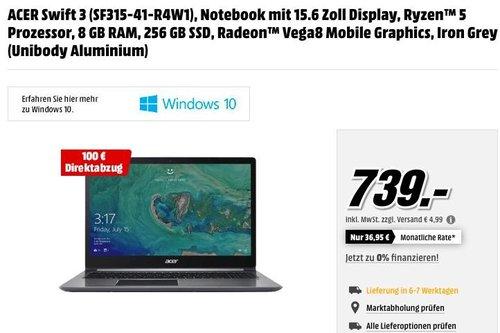 ACER Swift 3 (SF315-41-R4W1), Notebook mit 15.6 Zoll Display, Ryzen™ 5 Prozessor, 8 GB RAM, 256 GB SSD - jetzt 14% billiger