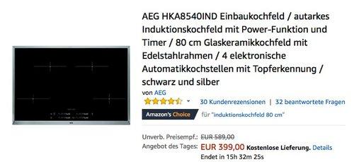 AEG HKA8540IND Einbaukochfeld / autarkes Induktionskochfeld mit Power-Funktion und Timer - jetzt 13% billiger