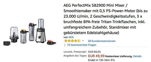 AEG PerfectMix SB2900 Mini Mixer / Smoothiemaker - jetzt 32% billiger