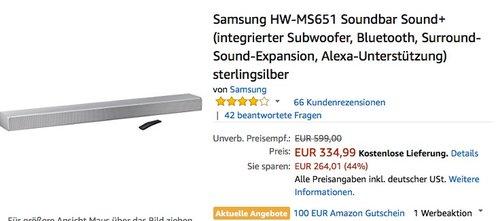 Amazon 100€ Gutschein auf ausgewählte Samsung Soundbar Sound+: Samsung HW-MS651 - jetzt 8% billiger