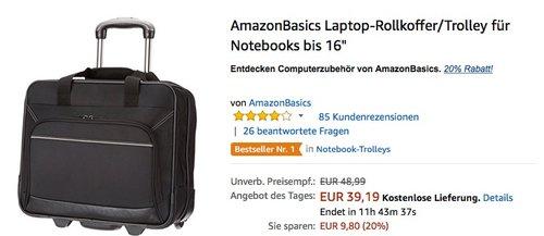 """Amazon 20% auf AmazonBasics: Laptop-Rollkoffer/Trolley für Notebooks bis 16"""" - jetzt 20% billiger"""