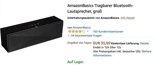 AmazonBasics Tragbarer Bluetooth-Lautsprecher, groß - jetzt 20% billiger