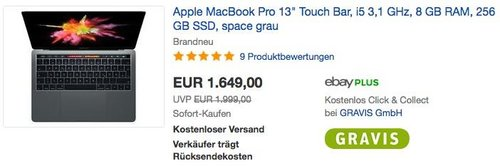 "Apple MacBook Pro 13"" Touch Bar, i5 3,1 GHz, 8 GB RAM, 256 GB SSD in Space Grau - jetzt 3% billiger"