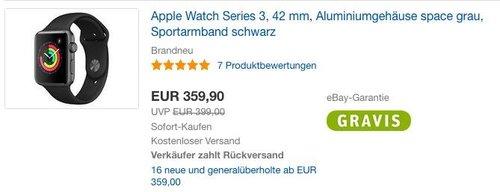 Apple Watch Series 3 42mm Aluminiumgehäuse Space Grau Sportarmband Schwarz - jetzt 10% billiger