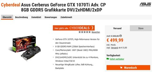 Asus Cerberus GeForce GTX 1070Ti 8GB GDDR5 Grafikkarte DVI/2xHDMI/2xDP - jetzt 5% billiger