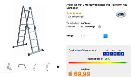 Atrox Mehrzweckleiter mit Plattform 4x3 Sprossen - jetzt 18% billiger