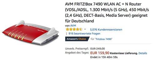 AVM FRITZ!Box 7490 WLAN AC + N Router - jetzt 15% billiger