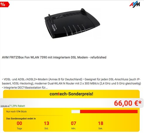 AVM FRITZ!Box Fon WLAN 7390 mit integriertem DSL Modem (refurbished) - jetzt 16% billiger