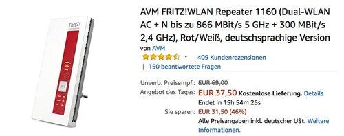 AVM FRITZ!WLAN Repeater 1160 - jetzt 25% billiger