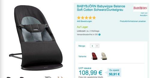 BABYBJÖRN Babywippe Balance Soft Cotton Schwarz/Dunkelgrau - jetzt 8% billiger