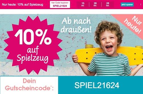 Babymarkt.de - 10% Rabatt auf Spielzeug (nur heute, 28.05.18) - jetzt 10% billiger