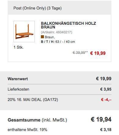 Balkonhängetisch Holz klappbar - jetzt 17% billiger