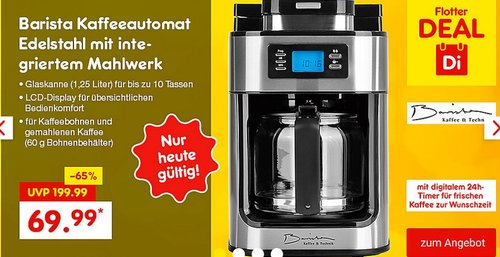 Barista Kaffeeautomat Edelstahl mit integriertem Mahlwerk - jetzt 25% billiger