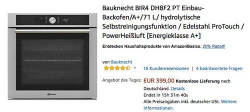 Bauknecht BIR4 DH8F2 PT Einbau-Backofen - jetzt 16% billiger