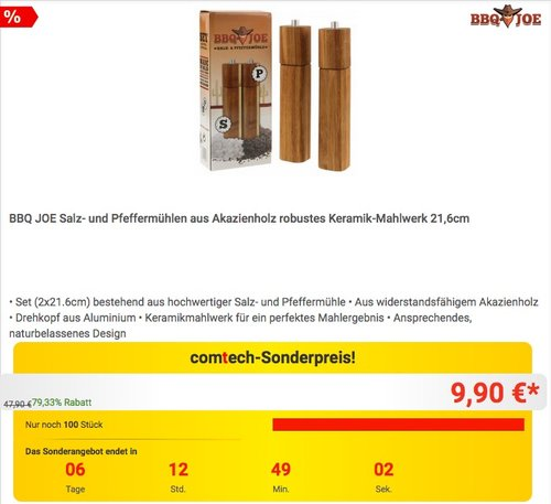 BBQ JOE Salz- und Pfeffermühlen aus Akazienholz robustes Keramik-Mahlwerk 21,6cm - jetzt 25% billiger