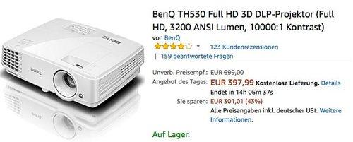 BenQ TH530 Full HD 3D DLP-Projektor - jetzt 20% billiger