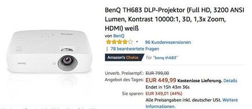 BenQ TH683 DLP-Projektor (Full HD, 3200 ANSI Lumen) - jetzt 20% billiger