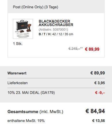Black & Decker BDCHD18BAFC Akkuschrauber  inkl. Koffer 80 teilig Set - jetzt 10% billiger