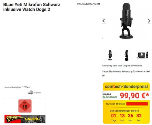 BLue Yeti Mikrofon Schwarz inklusive Watch Dogs 2 - jetzt 33% billiger