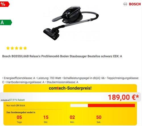 Bosch BGS5SIL66B Relaxx'x ProSilence66 beutelloser Bodenstaubsauger - jetzt 13% billiger