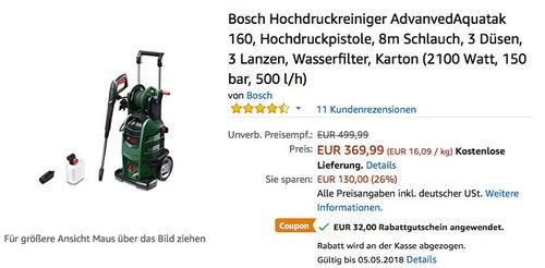 Bosch Hochdruckreiniger Advanvedaquatak 160 - jetzt 9% billiger