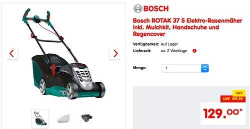 Bosch ROTAK 37 S Elektro-Rasenmäher inkl. Mulchkit, Handschuhe und Regencover - jetzt 19% billiger