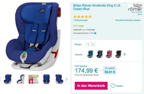 Britax Römer Kindersitz King II LS Ocean Blue - jetzt 5% billiger