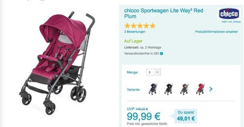chicco Buggy Lite Way³ Red Berry - jetzt 23% billiger