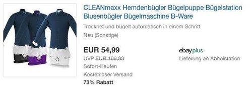 CLEANmaxx Hemdenbügler Bügelpuppe  B-Ware - jetzt 13% billiger