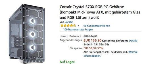 Corsair Crystal 570X RGB PC-Gehäuse weiß - jetzt 16% billiger