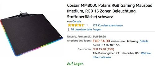 Corsair MM800C Polaris RGB Gaming Mauspad Medium - jetzt 23% billiger