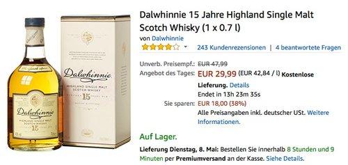 Dalwhinnie 15 Jahre Highland Single Malt Scotch Whisky (1 x 0.7 l) - jetzt 27% billiger