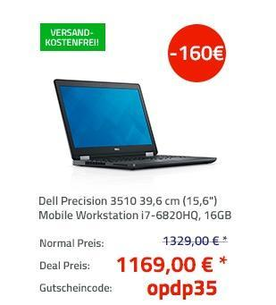 "Dell Precision 3510 39,6 cm (15,6"") Mobile Workstation i7-6820HQ, 16GB RAM, 512GB SSD, FirePro W5130M, Win7/10 Pro - jetzt 12% billiger"